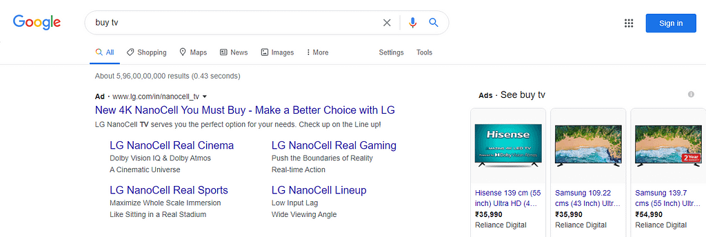 Example of google ads